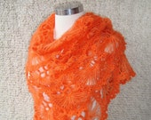 Reserved for Lara 1 of 5  -  Orange  Mohair Triangle Cilium Bridal Shawl