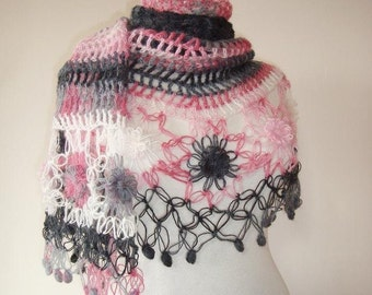 Degrade Grey and Pink Mohair  Daisy Flower Triangle Shawl - Express Delivery