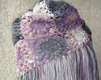 SPECIAL SALE - Express Delivery  Pink and Grey  Mohair Triangle Marguerite Shawl