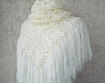 SPECIAL SALE - Ivory Mohair Triangle Marguerite Bridal Shawl - Express Delivery