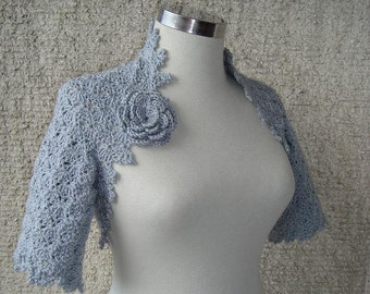 SPECIAL SALE - Dreamy Bridal Grey Crochet Shrug, Martha Stewart Shrug - Express Delivery -