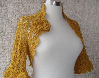 Mustard Gold Yellow Crochet Shrug / Any Season - Express Delivery