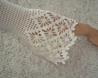 EXPRESS DELIVERY Romantic Bridal White Lace Crochet Cotton Shrug with 3/4 Sleeve