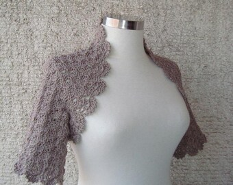 Taupe Dreamy Crochet Shrug - Nr : 02