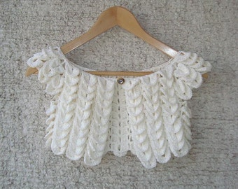 Ivory Crocodile Cotton Bridal Shrug, wedding crocodile shrug, crochet crocodil bolero