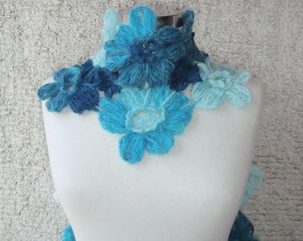 SPECIAL SALE - Turquoise Blue Daisy Flower Scarf - Scarflette - Express Delivery