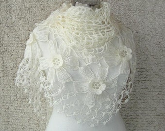 Ivory Biridal Mohair Flower Triangle Shawl - For her mom gift