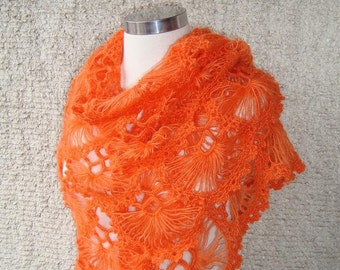 Orange  Mohair Triangle Cilium Bridal Shawl