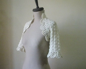 Ivory Dreamy Bridal Cotton Crochet Shrug - Nr :02