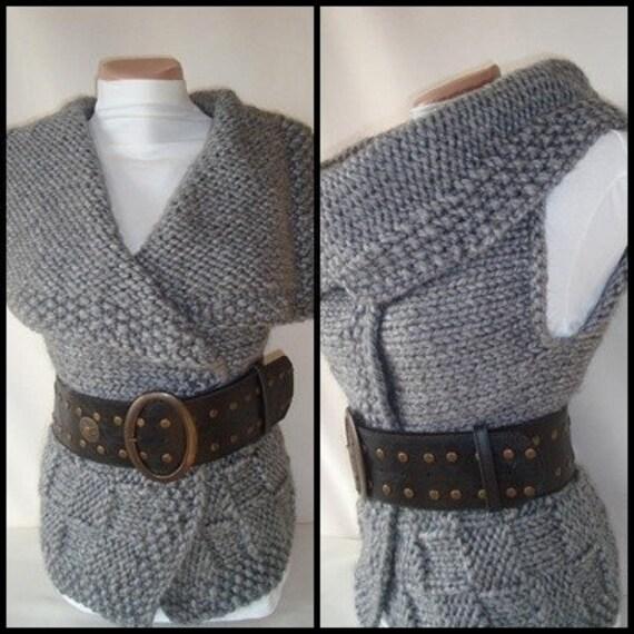 Bulky Reversible Charcoal Grey Modern Vest / Outerwear