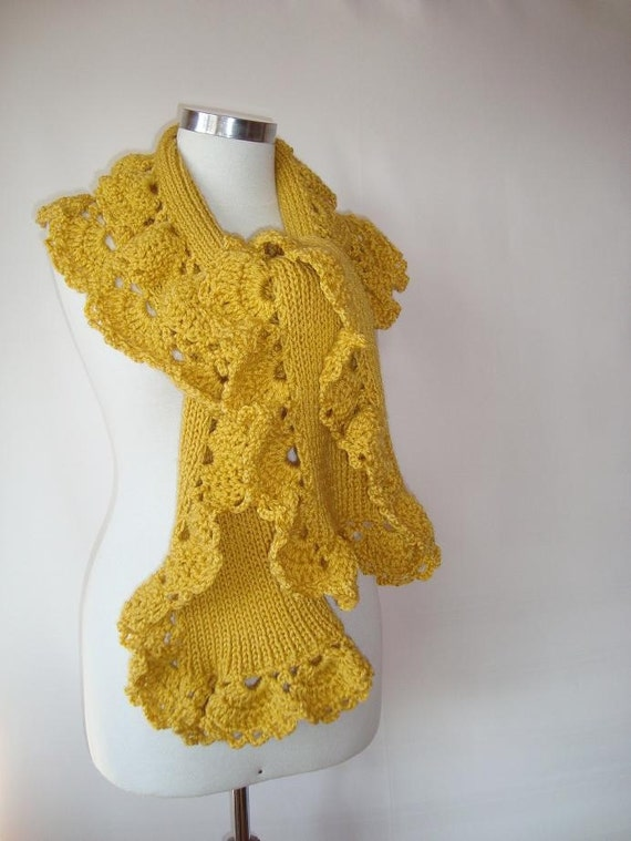 Mustard Yellow Spring Garden Shawl and Scarf with Crochet Lace