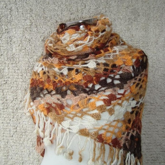 LUXURY MOHAIR Brown, Orange and Cream Colours Triangle Shawl