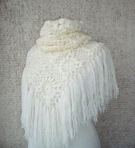 EXPRESS DELIVERY  Ivory Mohair Triangle Marguerite Bridal Shawl