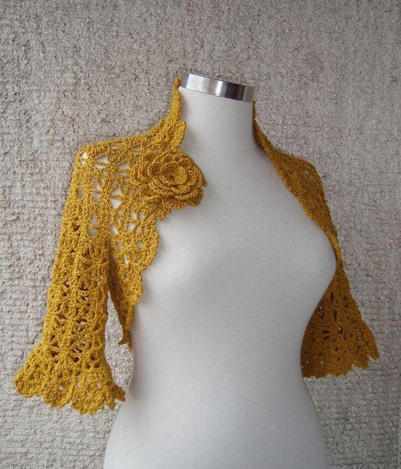 EXPRESS DELIVERY - Mustard Gold Yellow Crochet Shrug / Any Season