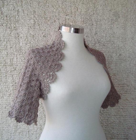 Taupe Dreamy Crochet Shrug - Nr : 02