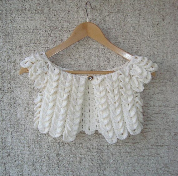 EXPRESS DELIVERY - Ivory Crocodile Cotton Bridal Shrug