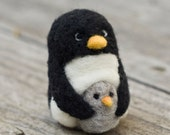 Needle Felted Penguin - with Baby