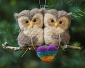 Needle Felted Owl Ornament - LGBT Pair with Heart