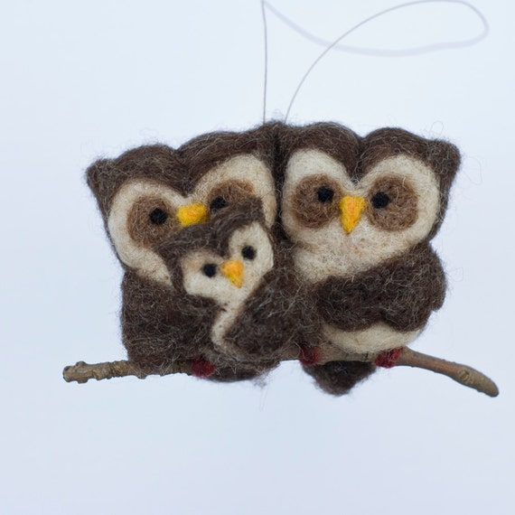 RESERVED - Needle Felted Owl Ornament - Family of Three