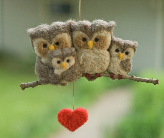 Needle Felted Owl Ornament Family of Four by scratchcraft ...