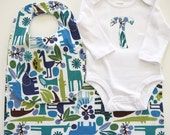 2D Zoo - Bib, Burp Cloth, and Monogrammed or Tie Bodysuit - Sizes 3 months, 6 months, 12 months, 18 months, 24 months