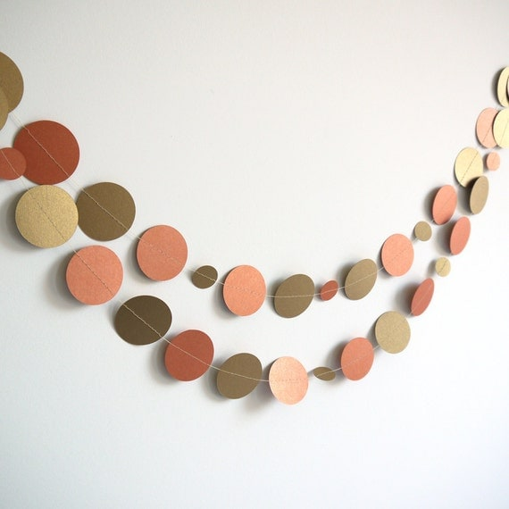 Metallic Gold and Copper Paper Garland for Decor, Gift Wrapping