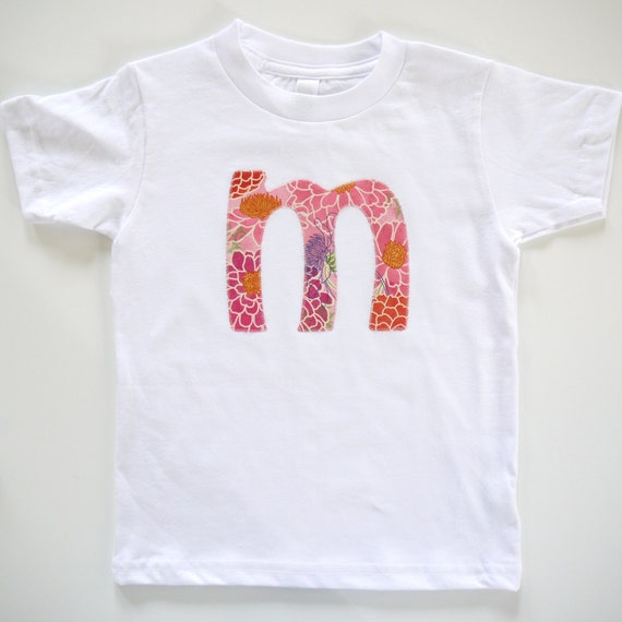 Zinnias - Personalized Monogrammed or Number - Girls T-Shirt - Sizes 2T, 4T, 6t, 7t, 8t, 10t