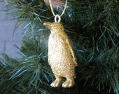 Sparkling Penguin Ornament - Gold