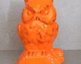 orange Ceramic OWL bank , Tangerine orange Vintage ceramic owl Bank with stopper