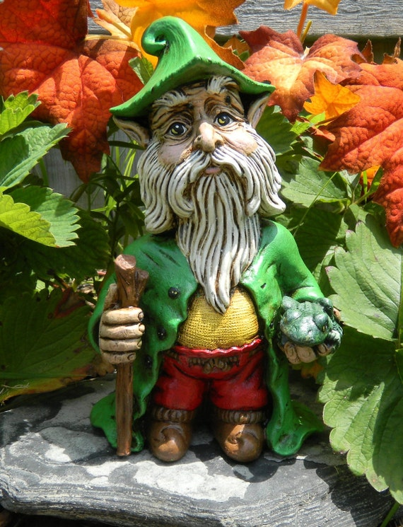 Standing Ceramic Garden Gnome With Stick And Fog