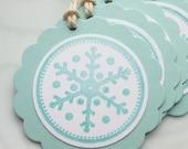 Simply Snowflakes Aqua - Set of 8 Gift Tags