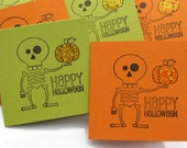 Skeleton Happy Halloween Bitty Note Cards - Set of 8