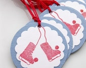 Winter Gift Tags Red Ice Skates - Set of 12