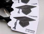 Graduation Gift Tags Congrats Cap - Set of 6 - Custom School Colors Available