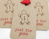Holiday Gift Tags Gingerbread Man - Set of 6 - Christmas Gift Tags Cookie Tags Gingerbread Man Tags Holiday Gift Wrap