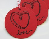 Love Tags Heart  - Set of 8 - Custom Colors Available - Valentine's Day Favor Tags Wedding Love Tags Bridal Shower Tags