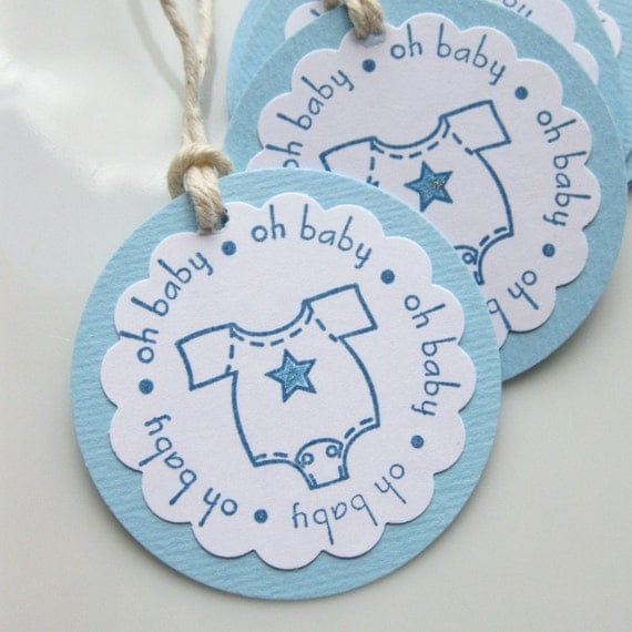 Baby Boy Gift Tags : Baby shower boy tags blue favor gift set of by