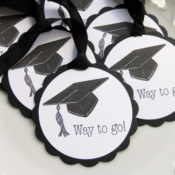 Graduation Favor Tags Way to Go Cap - Set of 6
