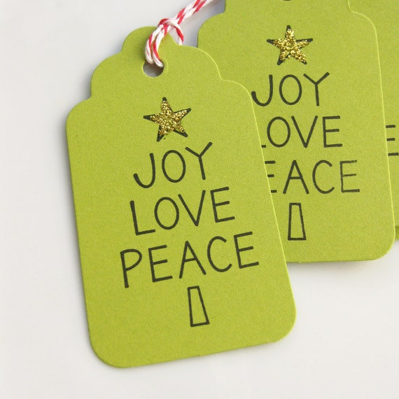 Christmas Gift Tags Joy Love Peace Favor Tag - Set of 6 medium