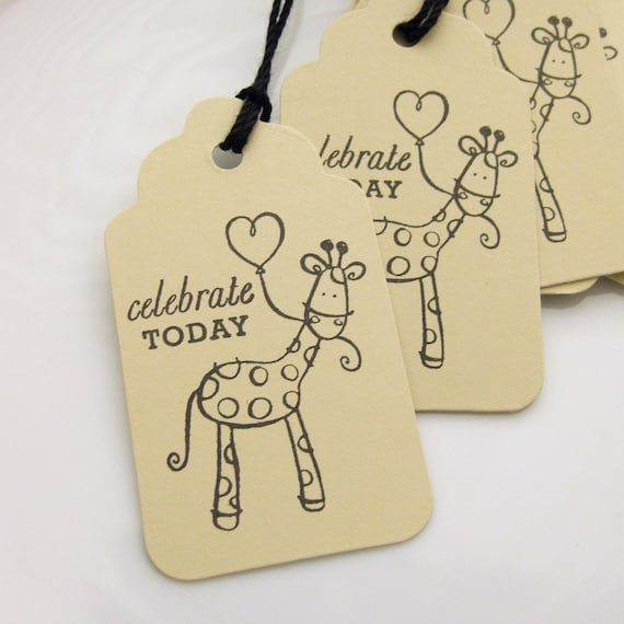 Giraffe Tags Celebrate Today - Set of 8 - Custom Colors Available - Baby Shower Favor Tags Giraffe Birthday Party Tags