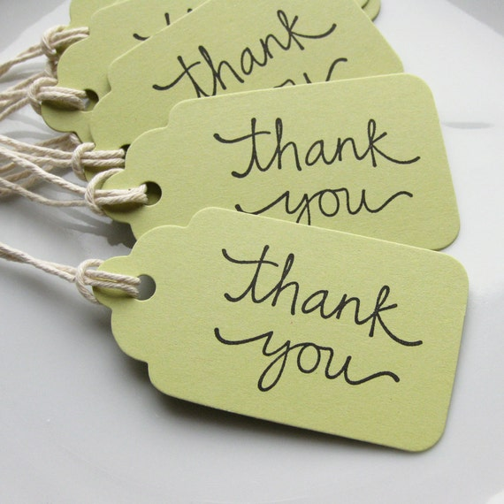Thank You Tags Favor Gift Tag - Set of 8 - Custom Colors Available