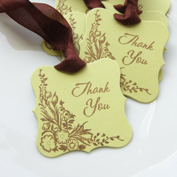Thank You Tags Botanical Floral - Set of 6 - Custom Colors Available - Bridal Shower Wedding Favor Tags