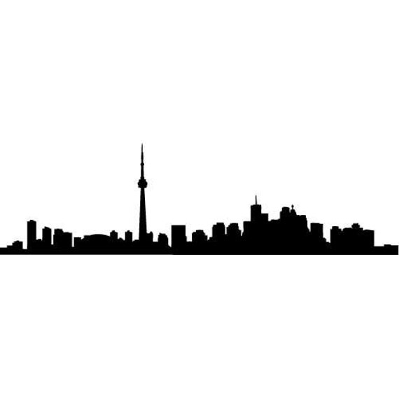 toronto skyline silhouette large vinyl wall decal by wallstickz. Black Bedroom Furniture Sets. Home Design Ideas