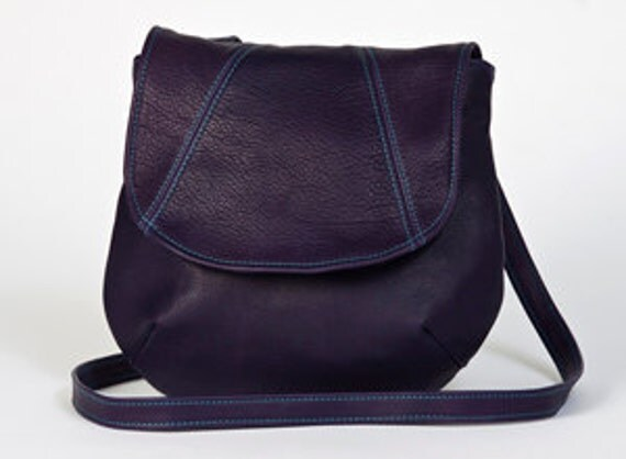 Purple Leather Crossbody Shoulder Bag Turquoise Stitching