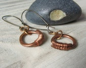 MIxed Metal Earrings with Hammered and Wrapped Copper Rings