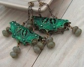 Bohemia Earrings - Filigree with Dark Emerald Green Patina and Labradorite Drops