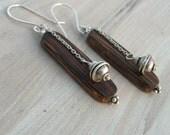 Wood Earrings, Sterling Silver Dangles - Simple, Modern, Earthy, Everyday Earrings