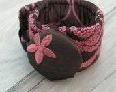 Chocolate Cherry Cuff - Fiber Bracelet with Oversized Silk Button