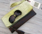 Postcard Fold-Over Clutch in Spring Green with Removable Wrist Strap - Larger Size