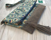 Peacock Fold-Over Clutch with Convertible Wrist or Shoulder Strap - Larger Size